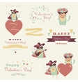 set couple funny valentine cats vector image vector image