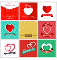 Set of nine style happy Valentine Card Design vector image vector image