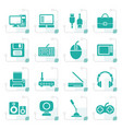 stylized computer equipment and periphery icons vector image