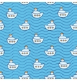Summer seamless pattern with ship images blue vector image vector image