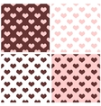 Tile brown pink and white hearts pattern set vector image vector image
