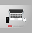 top view of blank screen laptop and mouse vector image