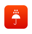 umbrella and rain drops icon digital red vector image vector image