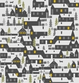 Village is a one-story houses fences firs dogs vector image