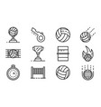 volleyball icons set outline style vector image vector image