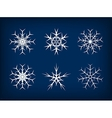White frozen set of snowflakes on dark blue vector image