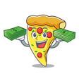with money bag pizza slice mascot cartoon vector image vector image