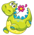 a dinosaur and flower vector image