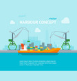 cartoon harbour of port town concept banner card vector image
