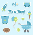 Baby boy shower stickers vector image