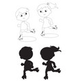 two skating kids black and white vector image