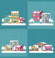 christmas winter holiday backgrounds set vector image