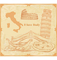 Symbols of Italy vintage card vector image