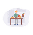adorable man cooking on kitchen table cartoon vector image