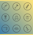 barber icons line style set with vintage hairdryer vector image