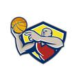Basketball Player Laying Up Ball Retro vector image