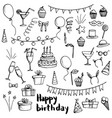 birthday party doodle set vector image vector image