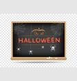 blackboard halloween spider pumpkin vector image vector image