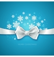 Blue Christmas background ribbon with white silk vector image