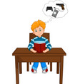 boy reading a book and thinking of games on the ta vector image