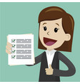 businesswoman is holding check list paper cartoon vector image vector image