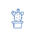 cactus in a pot line icon concept cactus in a pot vector image vector image
