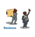 Cartoon businessmen with money and box vector image vector image
