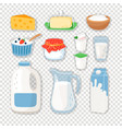 cartoon dairy products on transparent vector image