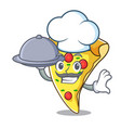 chef with food pizza slice mascot cartoon vector image vector image