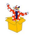 clown character pop up from huge carton box big vector image