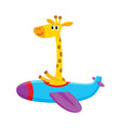 cute funny giraffe pilot character flying on vector image vector image