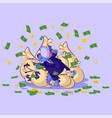 dragon in business suit lies happy vector image vector image