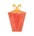drawing gift box decorative yellow bow vector image vector image