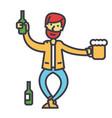 drunk man alcoholic alcoholism concept line vector image