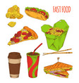 fast food snack set isolated on white backdrop vector image