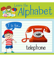 Flashcard letter T is for telephone vector image vector image