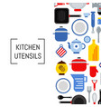 flat style kitchen utensils background vector image vector image
