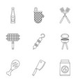 frying meat icons set outline style vector image vector image