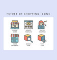 future of shopping icons vector image vector image