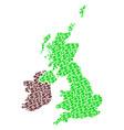 great britain and ireland map gdp mosaic of dollar vector image