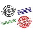 grunge textured vaccination stamp seals vector image vector image