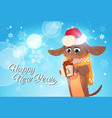 happy new year poster with dog in santa hat vector image vector image