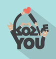 Love With Hand Sign Typography Design vector image vector image