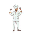 male chef of the restaurant in uniform and white vector image vector image