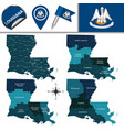 map of louisiana with regions vector image vector image