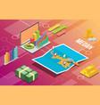 medan indonesia city isometric financial economy vector image vector image