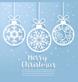 merry christmas ball paper cut art vector image