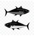 monochrome tuna fish set vector image
