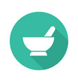 mortar and pestle flat design long shadow icon vector image