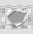 paper realistic hole ripped torn hole on vector image vector image
